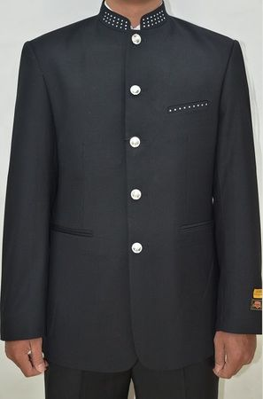 Mandarin Collar Suit Men Black Diamond Trim 8 Button Alberto M782GA