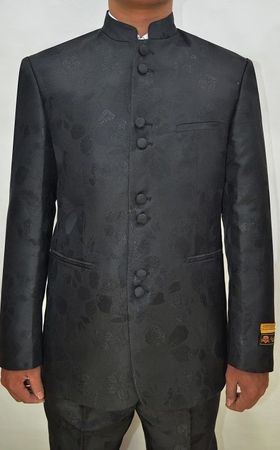 Mandarin Collar Suit Men Black Paisley 8 Button Alberto M782GA