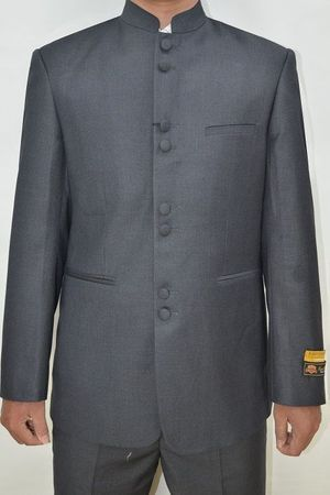 Mandarin Collar Suit Men Heather Charcoal 8 Button Alberto M782GA