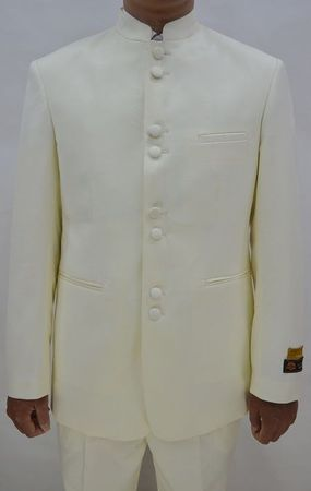 Mandarin Collar Suit Men Ivory 8 Button Alberto M782GA