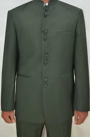 Mandarin Collar Suit Men Olive Green 8 Button Alberto M782GA