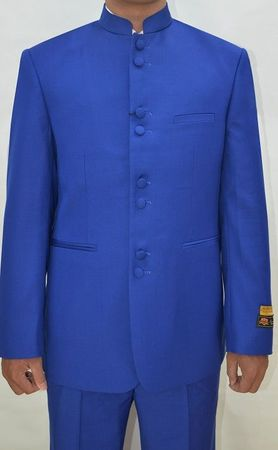 Mandarin Collar Suit Men Royal Blue 8 Button Alberto M782GA