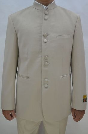 Mandarin Collar Suit Men Tan 8 Button Alberto M782GA
