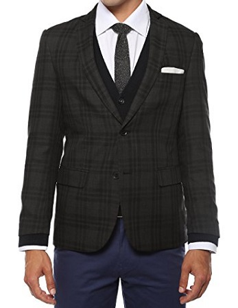 Zonettie Mens Slim Fit Charcoal Plaid Blazer Ares