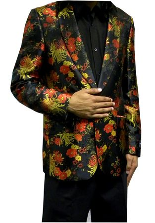 A.Midnight Mens Black Floral Entertainer Jacket Blazer