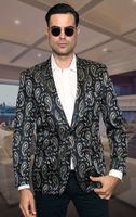 Manzini Blazers Navy Paisley Evening Jacket MZS-221 Size L Final Sale