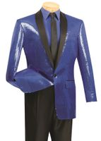 Dinner Jacket Mens Shiny Blue Sequin Entertainer Blazer Vinci NBSQ-1
