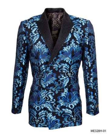 Empire Men's Blue Flower Double Breasted Blazer ME328H-01