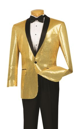 Dinner Jacket Mens Shiny Gold Sequin Entertainer Blazer Vinci NBSQ-1  - click to enlarge