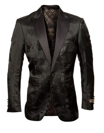 Black Floral Satin Tuxedo Jacket Blazer Prom Wedding ME266H-02