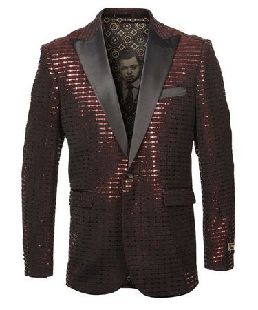 Red Black Sequin Tuxedo Jacket Blazer Prom Wedding ME263H-03 - click to enlarge