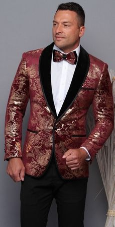 Manzini Men's Burgundy and Gold Floral Fitted Tuxedo Blazer MZV-517 Bow