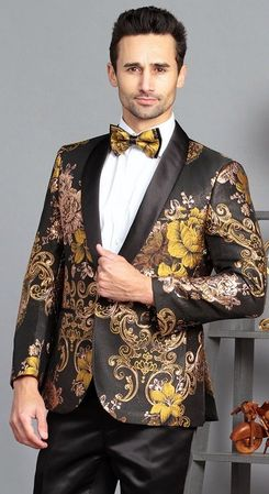 Manzini Men's Black and Gold Floral Fitted Tuxedo Blazer MZS-320 Bow