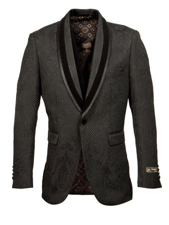 Black Diamond Print Tuxedo Jacket Blazer Prom Wedding ME265H-01