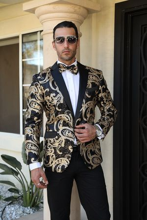 Manzini Designer Sequin Jacket Blazer Mens Gold Swirl MZE-135 Bow  - click to enlarge