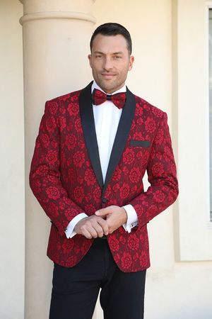Manzini Fancy Tuxedo Suit Jacket Blazer Red Floral MZN-116 Bow Size M, L