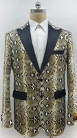 Mens Snake Print Pattern Tuxedo Jacket Alberto Fashion-3#