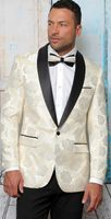 Manzini Dinner Jacket Modern Fit Cream Floral Embroidered MZS-295 Bow