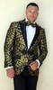 Manzini Insomnia Ornate Shiny Gold Fashion Blazer Tuxedo Jacket MZS-246 IS