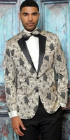 Manzini Mens Modern Fit Dinner Jacket Gold Festive Pattern  MZS-297 Bow