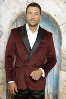 Manzini Men's Burgundy Velvet Double Breasted Blazer MZV-513