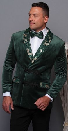 Manzini Men's Kelly Green Double Breasted Velvet Floral Trim Jacket MZE-177 Bow