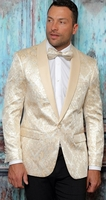 Manzini Dinner Jacket Beige Modern Fit Tapestry Design MZS-294 Bow