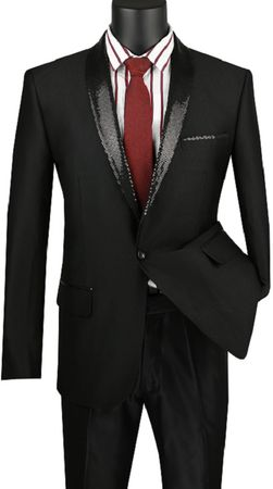 Mens Black Slim Fit Black Sequin Collar Tuxedo Jacket Vinci NBSQ-3