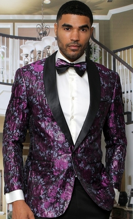 Manzini Modern Fit Dinner Jacket Floral Design Purple MZS-293 Bow - click to enlarge