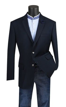 Mens Sport Coat Navy Blue Metal Button Center Vent B-TR