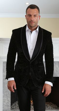 Manzini Mens Black Velvet Tuxedo Style Jacket Floral Pattern MZV-416 Bow - click to enlarge