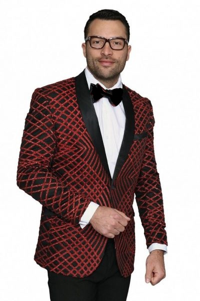 b6df20fc63 Manzini Mens Red Exotic Pattern Sequin Dinner Jacket MZE-113 IS