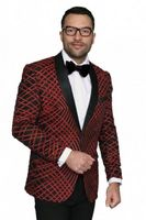 Manzini Mens Red Exotic Pattern Sequin Dinner Jacket MZE-113 IS