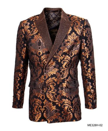 Empire Men's Rust Flower Double Breasted Blazer ME328H-02