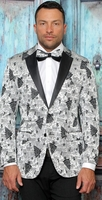 Manzini Mens Modern Fit Dinner Jacket Silver Festive Pattern MZS-297 Bow