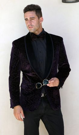 Manzini Mens Burgundy Velvet Tuxedo Design Jacket Floral Pattern MZV-416 Bow - click to enlarge