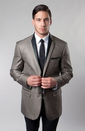 Dinner Jacket Slim Fit Tazio Mens Tan Houndstooth MJ139-04S