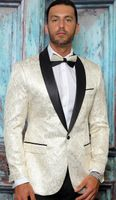 Manzini Dinner Jacket Off White Modern Fit Tapestry Design MZS-294 Bow