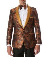 Party Wear Blazer Men Rust Floral Tuxedo Jacket Ferrecci Hugo