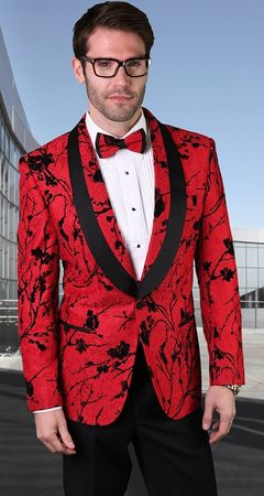 Statement Blazer For Men Red Floral Pattern  Design LJ 101