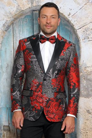 Manzini Men's Red Floral Fitted Tuxedo Jacket MZS-282 Bow - click to enlarge