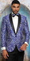 Manzini Dinner Jacket Mens Navy Fancy Pattern Stylish Blazer Modern Fit MZS-291 Bow