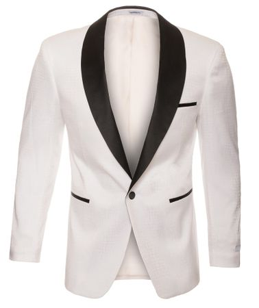 Tuxedo Jacket White Black Modern Fit Ferrecci Blazer - click to enlarge