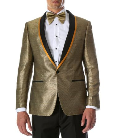 Party Wear Blazer Men Black Gold Shiny Tuxedo Jacket Ferrecci Webber