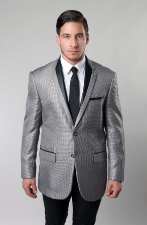 Mens Tuxedo Suit Jacket Slim Fit Tazio Black Houndstooth MJ139-01S - click to enlarge