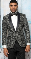 Manzini Dinner Jacket Mens Modern Fit Black Fancy Pattern Stylish Blazer MZS-291 Bow