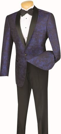 Mens Blue  Fancy Pattern Shawl Collar Dinner Jacket By Vinci BT-01 - click to enlarge