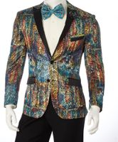 Slim Fit Blazer Fica Fashion Pattern Dinner Jacket Lorenzo SZ623 Size 38 Short Final Sale