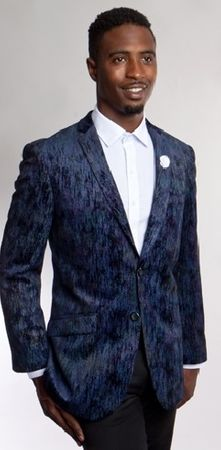 Tazio Mens Blue Texture Velvet Blazer Slim Fit MJ164S-02 Size 44 Short Final Sale