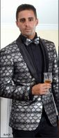 Manzini Mens Shiny Silver Fashion Blazer Dinner Jacket MZS-250  IS